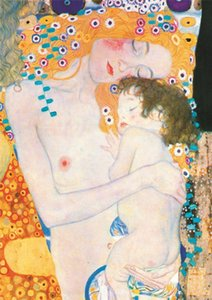 Gustav Klimt - Mother and Child Home Decor Handpainted &HD Print Oil Painting On Canvas Wall Art Canvas Pictures 200711