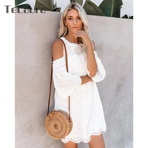 2019 New Sexy Beach Cover Up Swimsuit White Lace Beach Dress Hollow Crochet Swimsuit Cover up Beach Bathing Suit Women Tunic CX200714