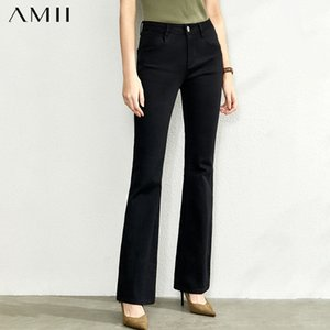 Amii Fashion Leisure Jeans New Slim Flared Pants for Autumn High Waist Solid OLstyle Pant 11920208