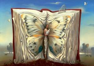 Vladimir Kush Papillon Mère dans un livre Home Décor peint à la main HD Imprimer Peinture à l'huile sur toile Wall Art Toile Photos 200803