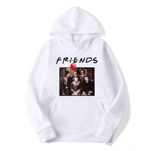 JX2iG 2019 horror friend Pennywise Michael Myers Halloween hooded men's 2019 horror friend Pennywise Michael Myers Halloween hooded sweater