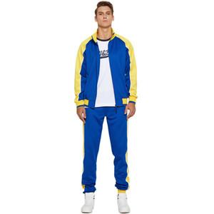 Mens Kontrast Farbe Anzug Beiläufiges Revers Ausschnitt Reißverschluss Cardigan Jacke und Hose lose Male Skateboard Sport Anzug