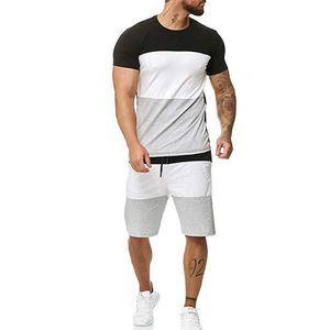 Mens verano chándales 2 Pieces Camisetas shorts fija masculino ocasional de moda de manga corta chándal Hombre Rayado Ropa de deporte