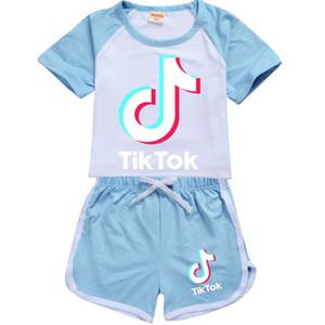 7 Renkler Tik Tok Vibrato Çocuk Erkek ve Kız Kısa Kollu Tişört + Şort Çocuk Eğlence Spor Suit 215 Çocuk Giyim