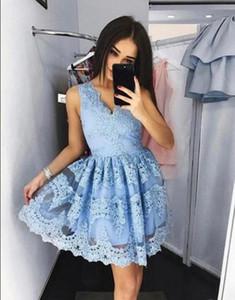 Мода синих Короткого коктейль платье V Nekc-линия Homecoming платье vestidos де коктейльная сшитая