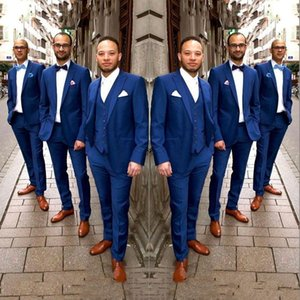 Navy Blue Men Suits for Wedding Summer Beach Groom Tuxedo Man Groomsmen Blazer Peaked Lapel 3Piece Slim Terno Masculino