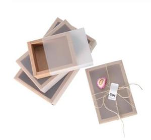 оптовые 20pcs Матовое ПВХ покрытие бумаги Kraft Выдвижные ящики DIY бумажная коробка подарка для свадьбы подарочной упаковки