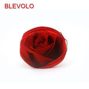 BLEVOLO 3D Rose Flower Women Girls Coin Purse Cute Plush Zipper Money Bag Pouch Bank Card Holders Coin Bags Kids Small Wallets