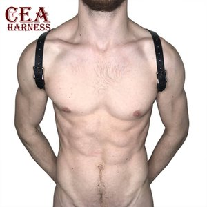 CEA.HARNESS Mens PU Leather Metal Body Chest Harness Punk Muscle Men Bondage Belt Sexy Male BDSM Bondage Club Rave Costume