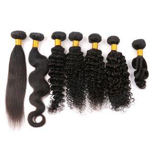 Capelli brasiliani vergini tesse Bundles traight estensione dei capelli umani dell'onda del corpo di profonda Kinky allentato 8-40Inch Lordo peruviano malese indiano