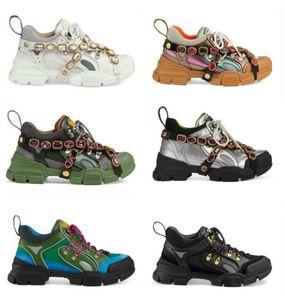2020 FlashTrek sneaker com cristais removíveis Luxury Designer Casual Shoes Moda Luxo Womens Designer de sapatos Formadores Sneakers