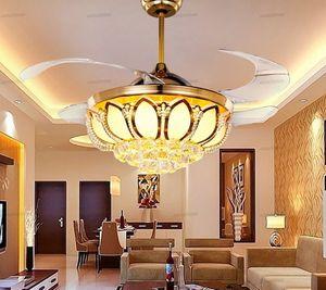 Modern 42 inç gizli bıçak süper sessiz fanı ışık kristal restoran tavan fanı lambası Vogue kablosuz uzaktan kumanda fan lambası