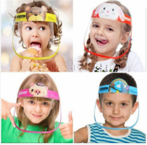 DHl Schiff reizender Kind-Karikatur-Gesichts-Schild Transparent Schutzmasken Staubdichtes Anti-Fog Voll mit Brille Anti-Staub-windundurchlässige PET Partei-Schablone