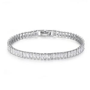 Superbe Nouvelle Arrivée Unique Luxury Bijoux en or blanc 18 carats Remplir la pleine taille princesse topazes CZ diamant Gemstones femmes Bracelet cadeau