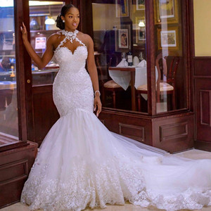 2020 Arabic Aso Ebi Vintage Lace Beaded Wedding Dresses Sheer halter Neck backless button Mermaid Bridal Dresses Sexy Cheap Wedding Gowns