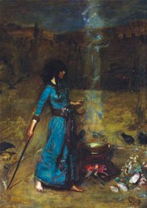 J.W Waterhouse - Magic Circle QUALITY Canvas Painting Home Decor Handpainted &HD Print Oil Painting On Canvas Wall Art Canvas 200712