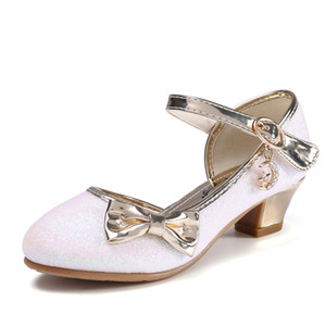 Children Princess Sandals Kids Girls Wedding Shoes High Heels Dress Shoes Bowtie Gold Shoes For Girls party shoe kids gift Y200619