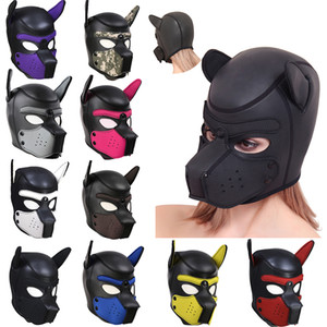 Brand New 10 Color Sexy Cosplay Role Play Dog Full Head Mask Soft Padded Latex Rubber Puppy BDSM Bondage Hood Sex Toys for Women T200721