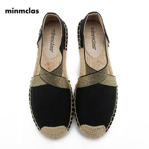 Minmclas New Alpargatas Espadrilles Cartoon Comfortable Slip-on Womens Casual Slippers Breathable Flax Hemp Canvas for Girls CX200722