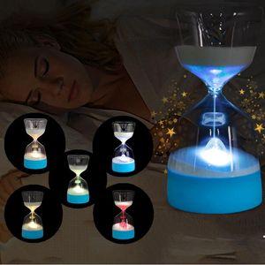 LED Hourglass Noite Lamp Home Decor Luzes do partido Mudança Cor Suave Bebê criança dormindo carga inteligente USB de cabeceira quarto lâmpada presente DH1076