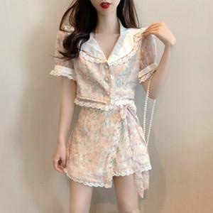 2020 Summer 2 el borde decorativo remiendo Set Mujer de encaje de manga corta de gasa Tops Y Flor Imprimir Trajes Minifalda Conjuntos de mujer
