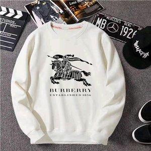 New Outono / Inverno 2020, o alfabeto War Horse gola redonda moda solta casuais blusa manga longa, fina, com veludo