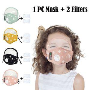 Máscaras del partido del algodón de los niños con 2 filtros y extraíble Ojos escudo anti-polvo PM2.5 lavable Cara niños Máscara cubierta nominal impreso Moda
