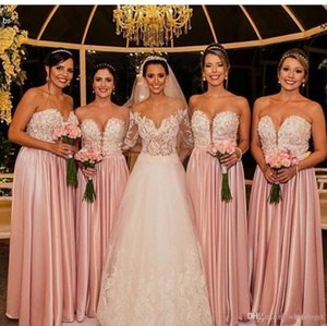 Pink 2020 New Cheap Bridesmaid Dresses Sexy Sweetheart Keyhole Lace Appliques Beaded Long Satin Plus Size Wedding Party Maid Of Honor Gowns