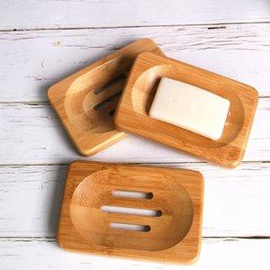 Natürliches Bambusholz Seifenschale Speicher-Halter-Badezimmer-Runde ablassen Seifenkisten rechteckiger Platz Umweltfreundliche Holz Soap Trayhalter AHD607