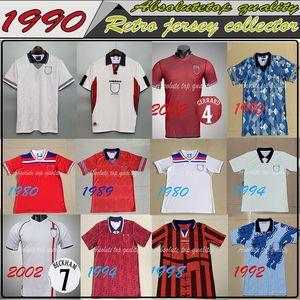 Retro Soccer Jersey 1990 1998 Retro soccer jersey Home White Football Shirt SHEARER SHERINGHAM BECKHAM Men OWEN SCHOLES
