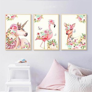Flower Unicorn Flamingo Canvas Poster Wall Art Nursery Print Nordic Decorative Picture Baby Bedroom Decoration Cafe No Frame