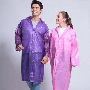 Espesar con capucha del poncho impermeable capa de las mujeres para hombre de la capa de lluvia al aire libre impermeable portable de la manera transparente ropa impermeable VT1664 largo del viento