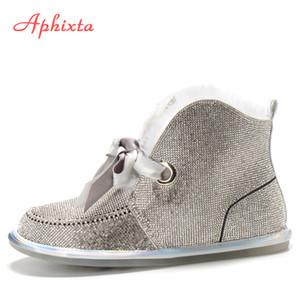 Aphixta Bling Winter Snow Boots donne per le donne piatte Tacchi Strass Diamanti pelle scamosciata della mucca Warm peluche scarpe da donna