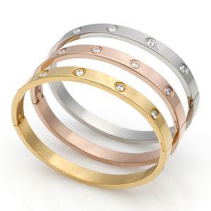 Fashion Couple Love Bijoux Cristal Bracelet manchette pour femmes / hommes Couleur doré Bracelets en acier inoxydable Bangles Bijoux Meilleur cadeau