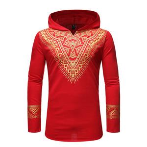 Red African Dashiki Print Hoodie Men Sweatshirt Slim Fit Harajuku Men African Clothes Streetwear Casual Dresses Clothing