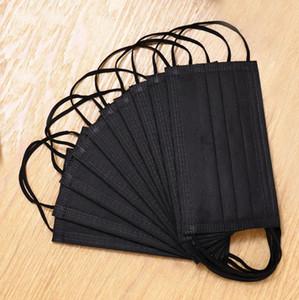 Maske Einweg Gesicht schwarz Protective Earloop Elastic für Maske Sicherheits-Antistaub-Cotton Mouth Masken 3 Schicht Home Use Facemask Kostenloser Versand