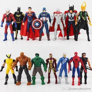 hxldoor 14pcs set 16cm The Avengers 2 Age Of Ultron Hulk Hawkeye Captain America Thor Batman Spider Man Action Figure Toys Gifts For Boy