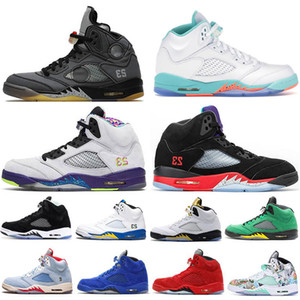 5 Black Metallic 5S scarpe da basket per gli uomini Bel Alternate Willy, il principe TOP 3 Space Jam ALTERNATO UVA Oreo Cemento Sneakers Trainers 40-47