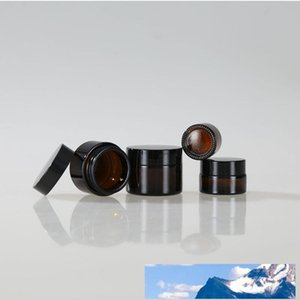 New Amber Glass Cosmetic Cream Bottles Round Jars Bottle with White Inner Liners PPfor Face Hand Body Cream 5g to 100g