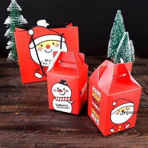 15pcs, Рождество Сумка Set Red Box подарочная упаковка Санта снеговика мультфильм Закуска конфеты упаковочной коробки и сумки, партия Декор Картон