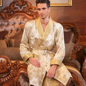 De alta calidad de Otoño Hombres seda de manga larga del kimono de la ropa de noche de seda 100% masculino Robe Robe bicapa Espesados Loungewear ropa