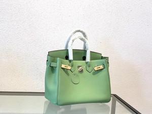 الأفوكادو الخضراء المواد الجلدية الطباعة النخيل مع الأجهزة الذهب تصميم حقيبة يد السيدات السيدات مزاجه أنيقة H أسلوب حقيبة كتف مع مربع