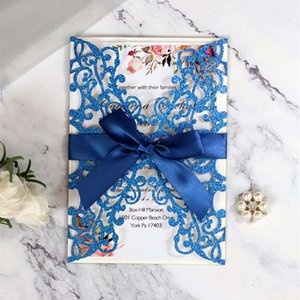 2020 Wedding Glitter Invitation Cards Laser Hollow Out Bowknot Royalblue Thanksgiving Business Invitations Card By DHL Hot Selling