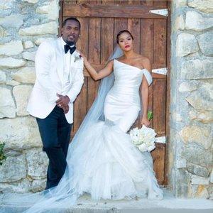 Strapless Mermaid Wedding Dresses Pleated Satin 2020 Tulle Crystals Beaded Tiered Bridal Gowns Floor Length Vestidos De Novia AL6519