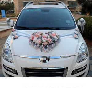 decoração do carro em forma de coração prato casamento decoração do carro set nó artificial casamento flor CD50 Q03