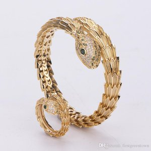 Hip Hop Gold Silver Snake Bracelet And Ring Personlized Punk Style Environmental Copper Jewelry For Women
