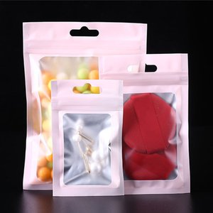 Matte Pink Aluminum Foil Window Bag Self Sealing Bags Christmas Gifts Pouches Jewelry Nail Beauty Bracelets Earphone USB Cable Package Bags