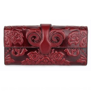 Hot sale in 2020 top layer wax leather long wallet for women hand embossed hand Wallet handbag women hand bag