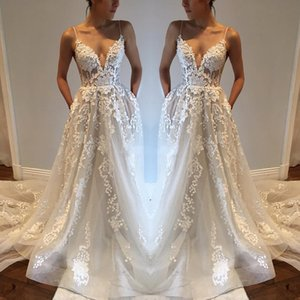 Spaghetti Straps Sexy Wedding Dresses With Pockets 2020 Lace A Line Boho Garden Bridal Gowns Backless Court Train Vestidos De Novia AL6560