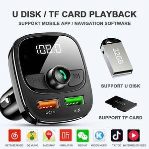 QC 3.0 Handsfree 5.0 Fm transmissor modulador Bluetooth Car Kit Car Dual USB Car Charger MP3 Player TF adaptador de música